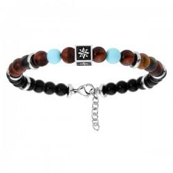 bracelet argent onyx oeil de tigre et turquoise