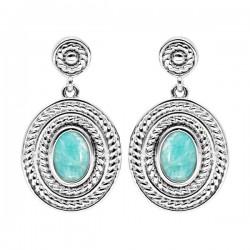 boucles d oreilles argent 925/1000 turquoise serti clos