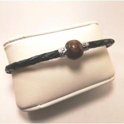 bracelet cuir et  boule bois