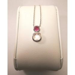 collier argent 925/1000 oxyde fuschia et rose taille briolette serti clos
