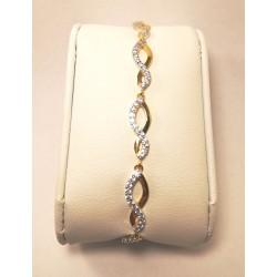 bracelet  oxydes bicolore plaqué or serti griffes en vague