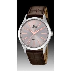 montre lotus  quartz  étanche 5 atm bracelet cuir marron