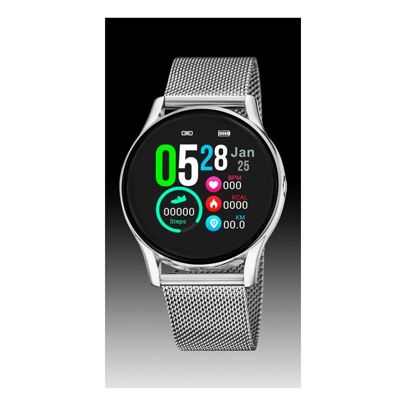 montre lotus quartz smart watch connectée  étanche 3 atm bracelet métal milanais