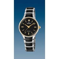 montre dame quartz bracelet acier et céramique et index doré étanche3 atm
