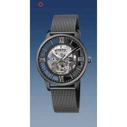 montre festina automatique squelette troteuse centrale  étanche  5 atm bracelet métal pvd noir