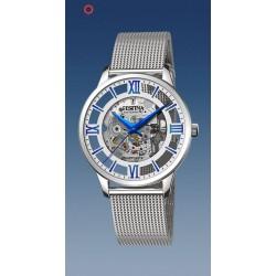 montre festina automatique squelette troteuse centrale  étanche  5 atm bracelet métal index bleu