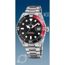 montre festina automatique troteuse centrale  étanche  10 atm bracelet métal couronne vissée date 3h