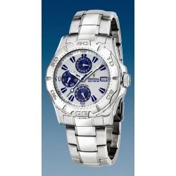 montre festina quartz troteuse centrale  étanche  10 atm bracelet métal multifonction