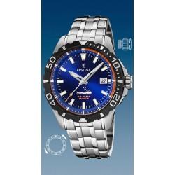 montre festina quartz plongée troteuse centrale  étanche  20 atm bracelet métal couronne vissée date 3h