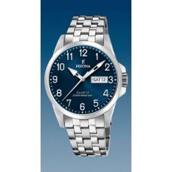 montre festina quartz jour date a 3h troteuse centrale  étanche  10 atm bracelet métal
