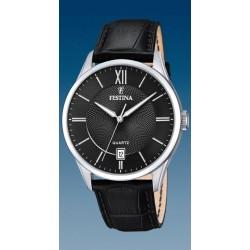 montre festina quartz  date a 6h troteuse centrale  étanche  10 atm bracelet cuir