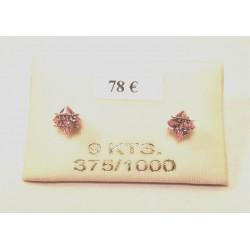 boucles d oreilles oxydes rose serti barrette or 375/1000