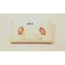 boucles d oreilles licorne laqué rose et blanc or 375/1000