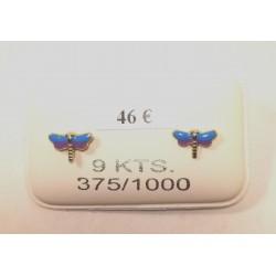boucles d oreilles papillon laqué bleu or 375/1000